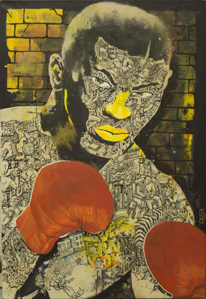 peinture art artiste graffiti street art couleurs tableau homme portrait boxe