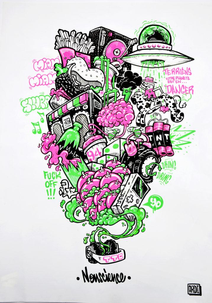 art artiste graffiti street art noir blanc vert rose tableau dessin